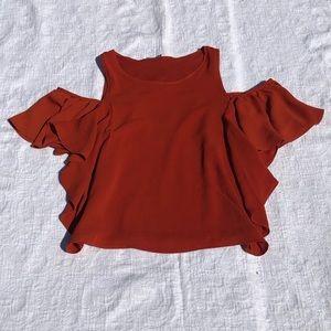 ZARA***Small Orange Cold Shoulder Top!!!